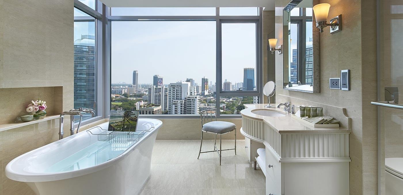 Bathroom views at Oriental Residence Bangkok