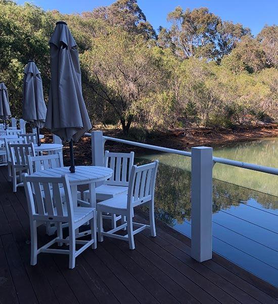 Dining verandah at Cape Lodge