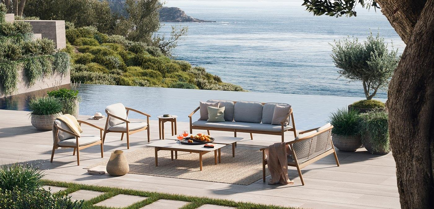 The 'Forrest' Sofa and 'Forrest' Lounge Chair and 'Forrest' Coffee Tables take alfresco Australian living up a notch