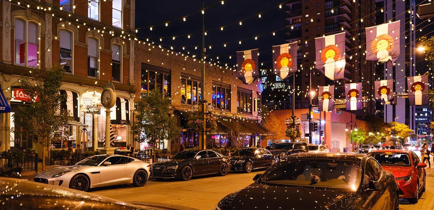 Larimer Square in downtown Denver lit up