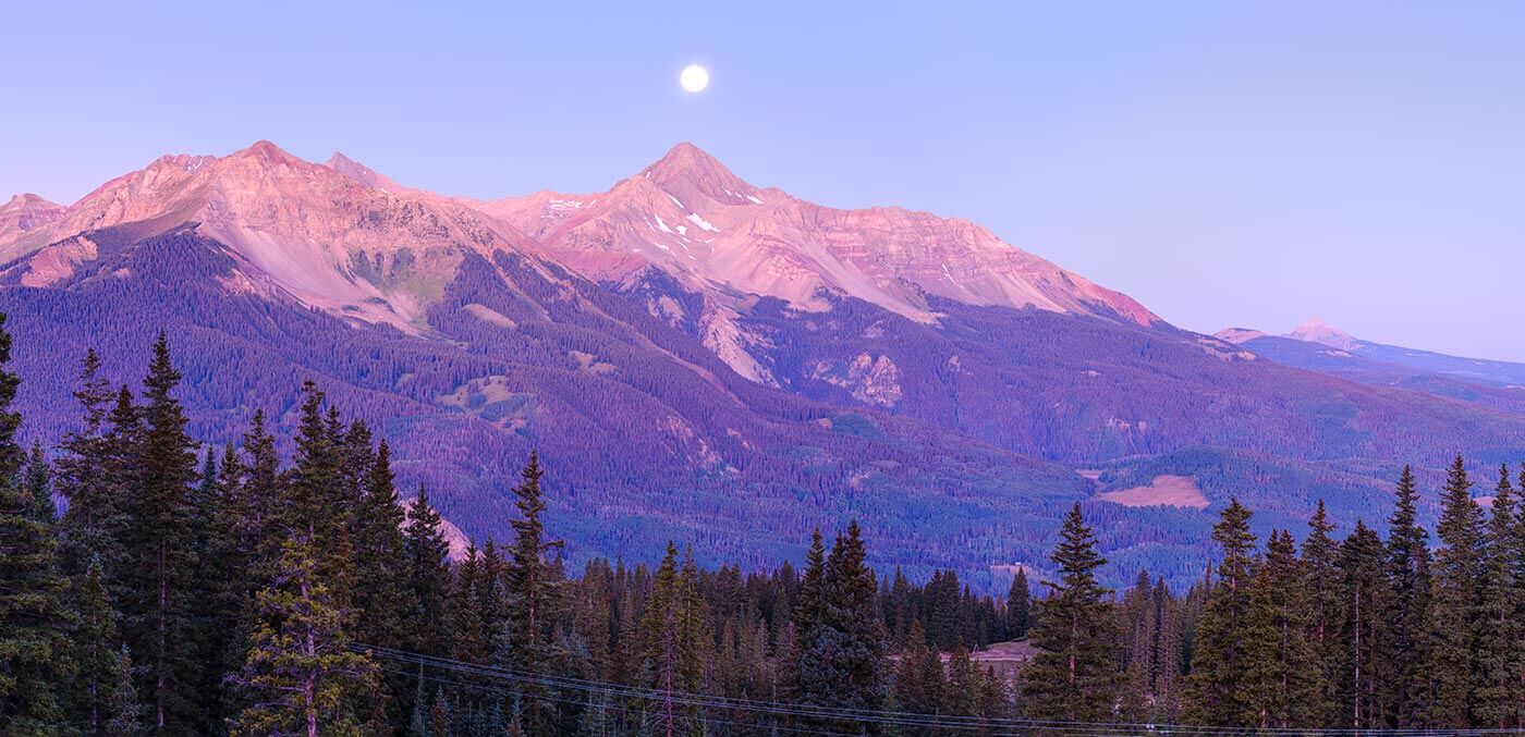 Pre-dawn moonlit mountain landscape from the Alta Mine ghost town near Telluride