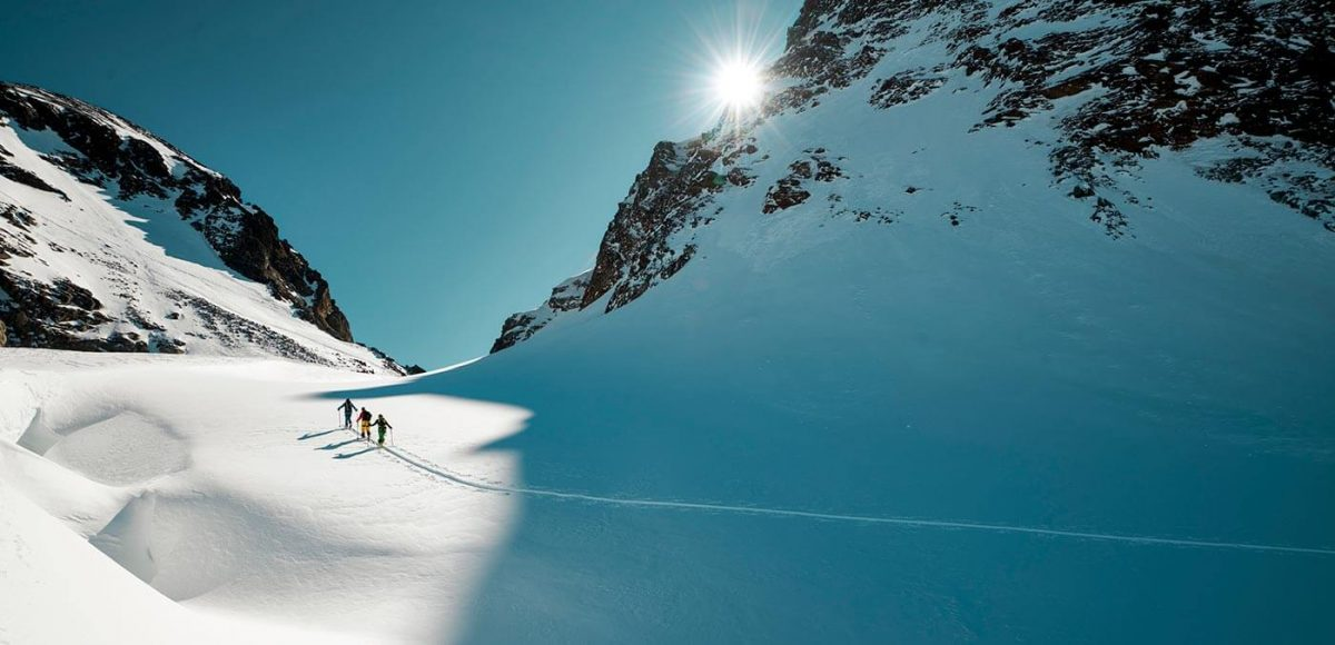 Ski tour climbing Piz Buin Mountain