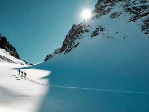 Ski tour climbing Piz Buin Mountain