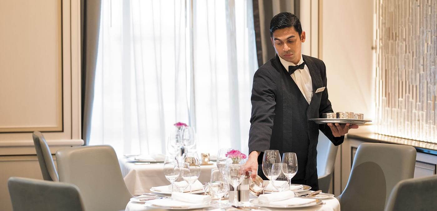 Waiter on board Seven Seas Explorer
