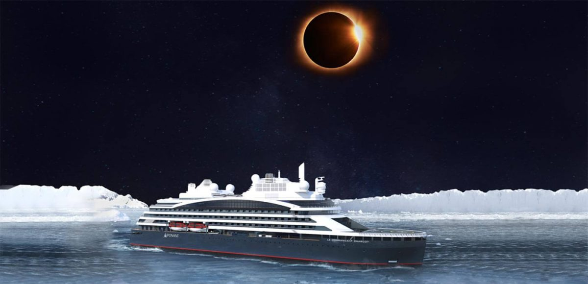 The solar eclipse onboard Le Commandant-Charcot