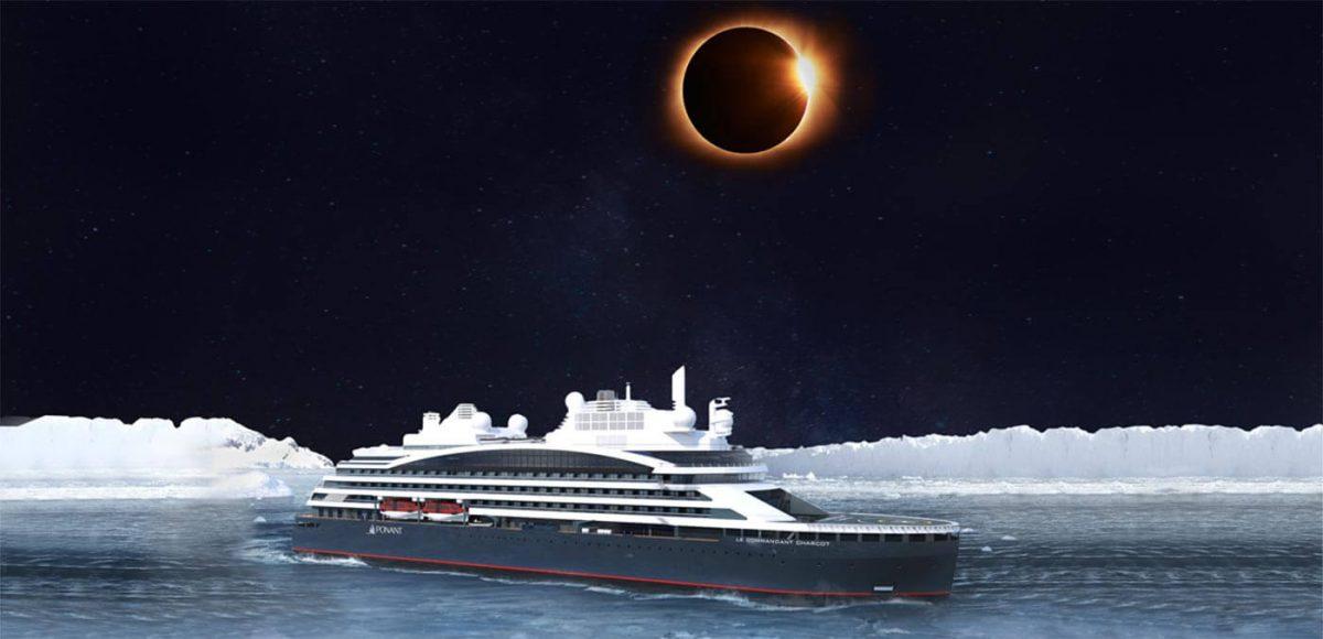 The solar eclipse onboard Le Commandant-Charcot
