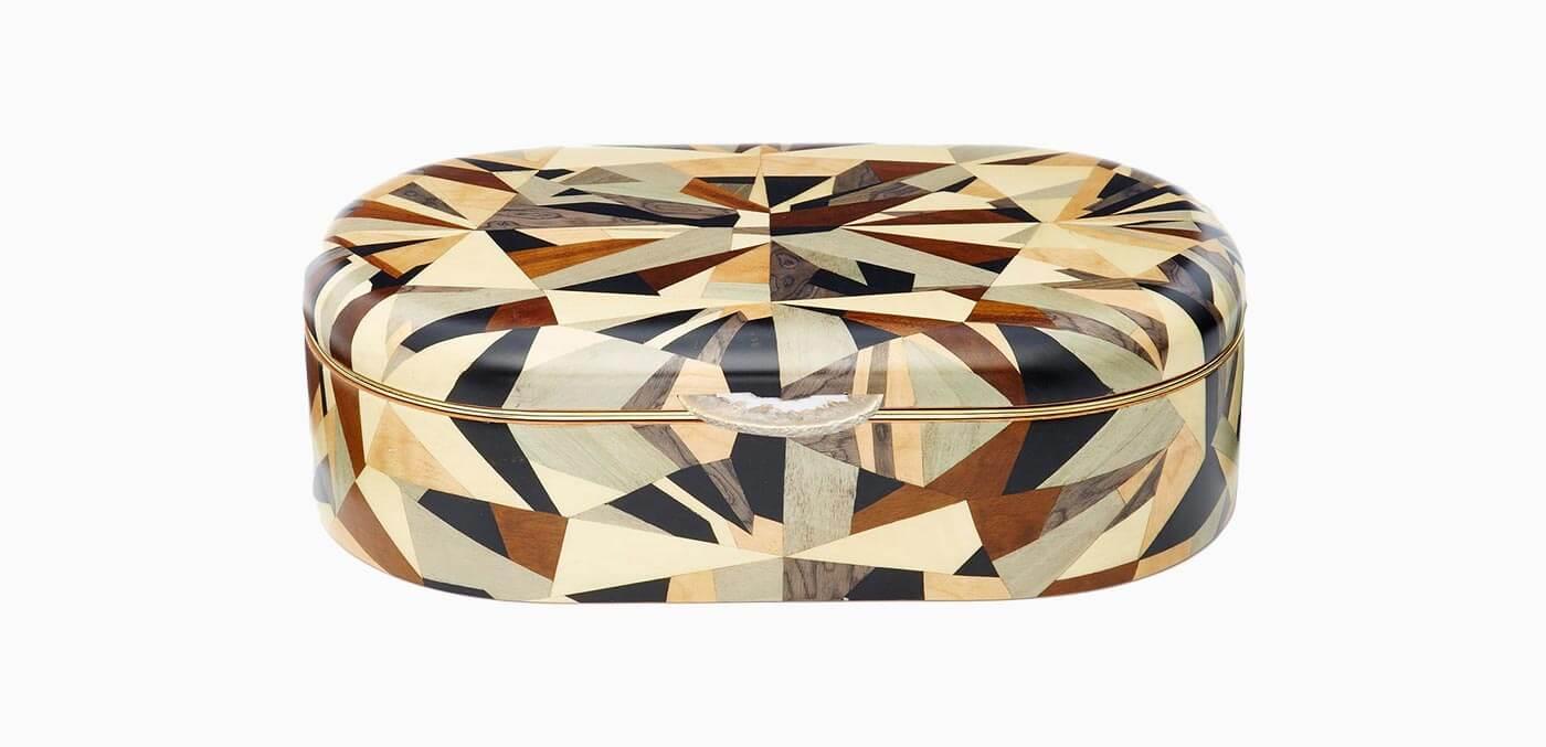 Marquetry wood jewellery box by Silvia Furmanovich