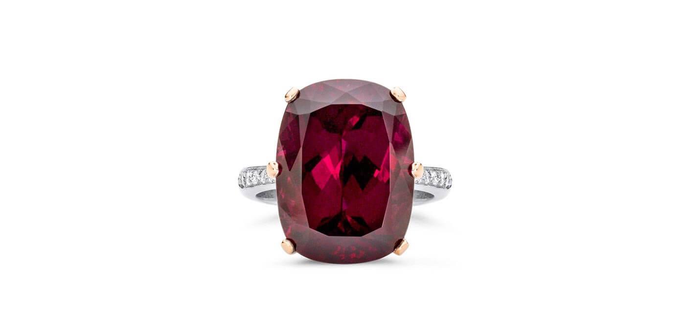 Princess Collection Rhodolite Garnet Ring