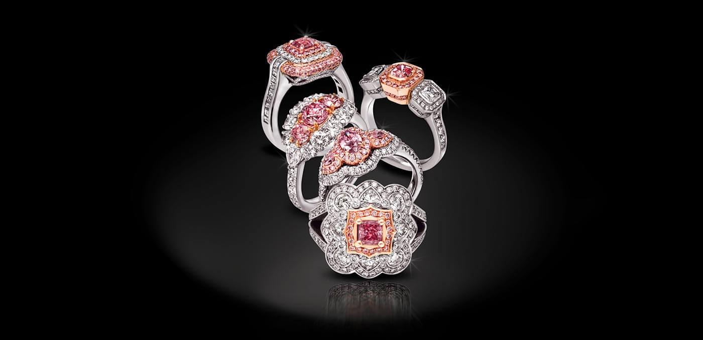 Rare and finite Five precious Argyle Pink Diamond rings