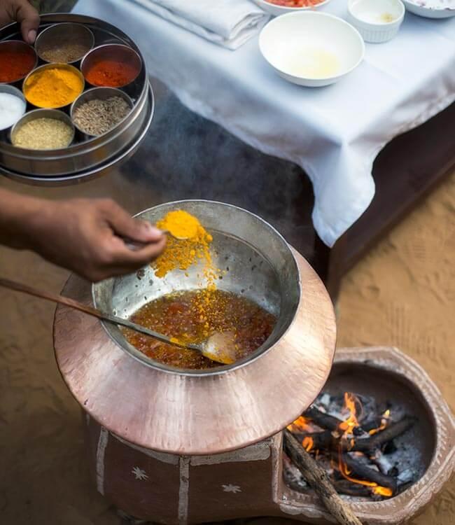 Meal prep at Sujan Sher Bagh