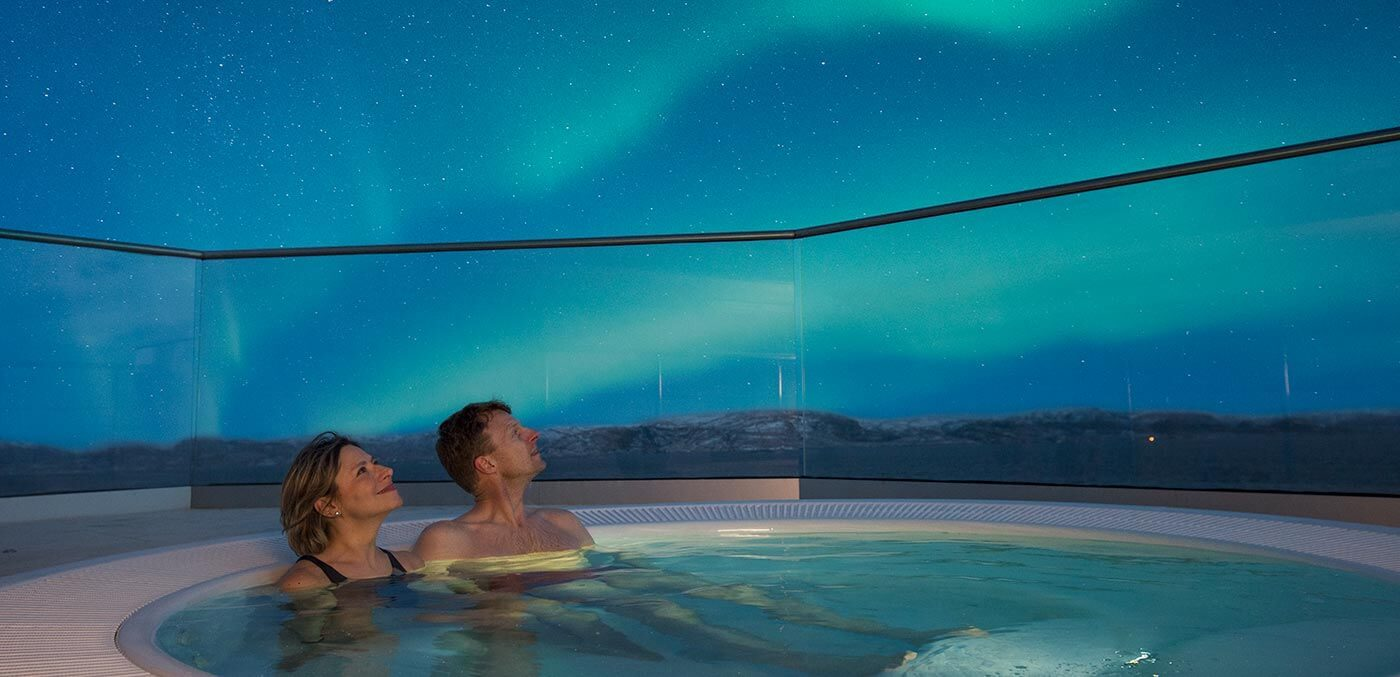 Northern Lights gazing from a hot tub