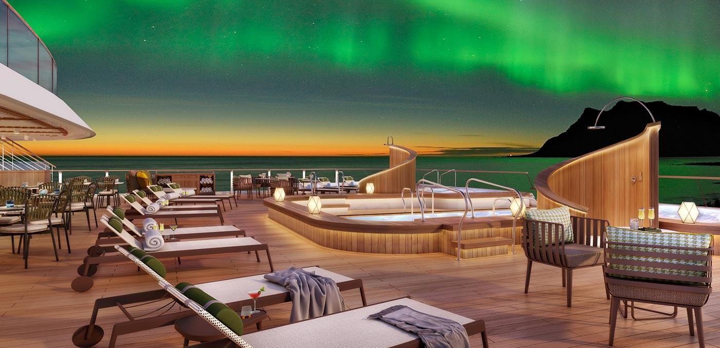 Seabourn Venture under the glow of the Northern Lights