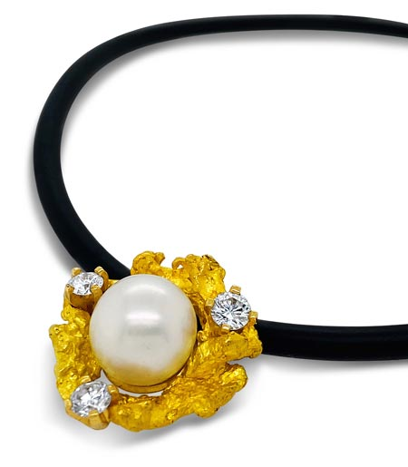 Yellow Gold Nugget and Pearl Pendant Three Stone 9 Gram