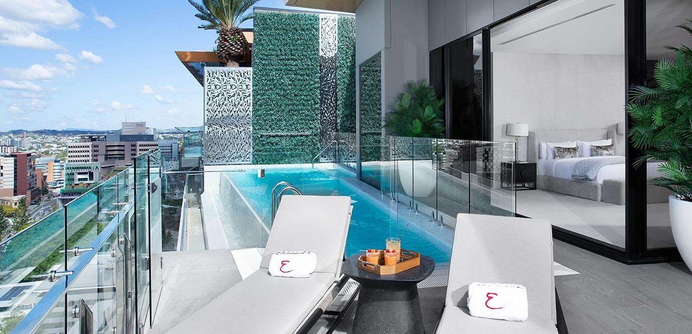 Private pool at the Brisbane Emporium Penthouse Suite