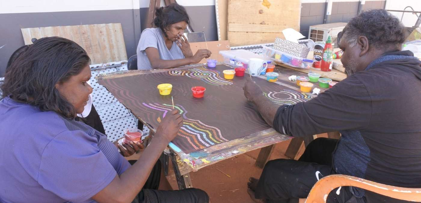 Aboriginal artists painting in Derby WA.
