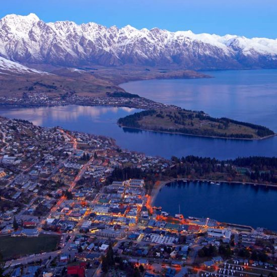 Queenstown at dusk. View from Bob's Peak
