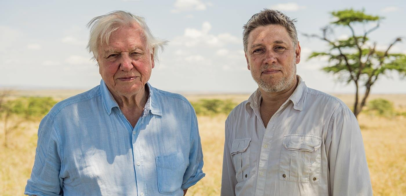 Sir David Attenborough and Jonnie Hughes in the Maasai Mara, Kenya