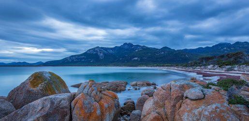 Beach and Rocks, Sunset at Fotheringate Bay, Tasmania,