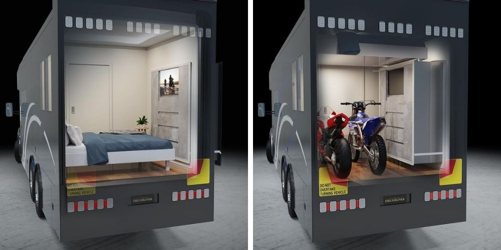 Artistic impressions of how the dreamliner lift system makes room to store motorbikes.