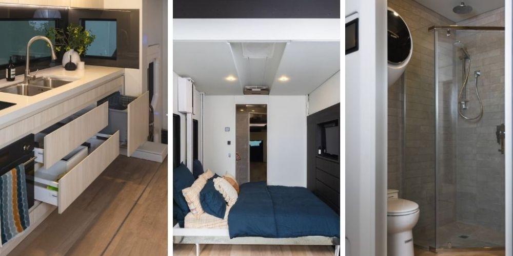 a grid of the kitchenette, bedroom and bathroom inside the dreamliner
