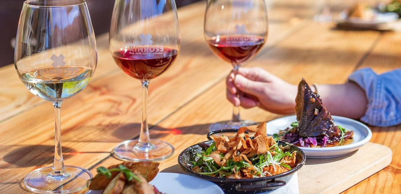 Enjoy lunch with wines from five estates at Kinross one of the best bars and wineries in Queenstown