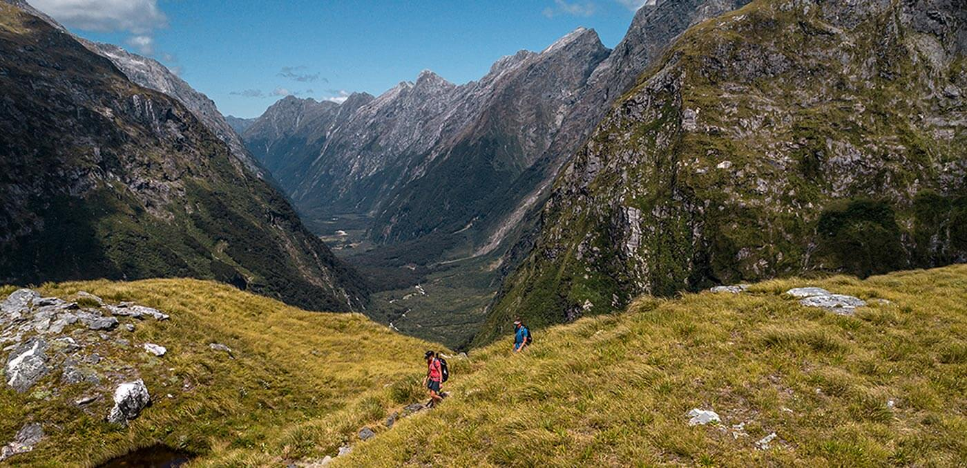 Climbing up Mackinnon Pass on the Milford Track with Ultimate Hikes