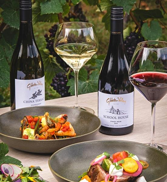 Food and wine pairings at Gibbston Valley Winery