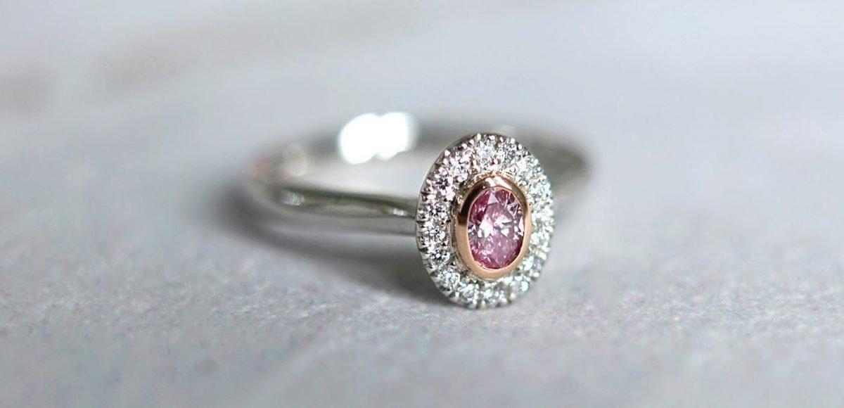 Rohan Jewellers Pink Diamond and White Diamond Oval Halo Ring