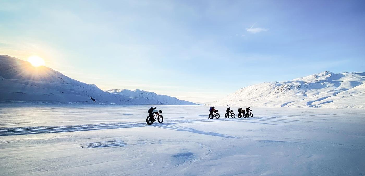 Biking through the Russell Glacier