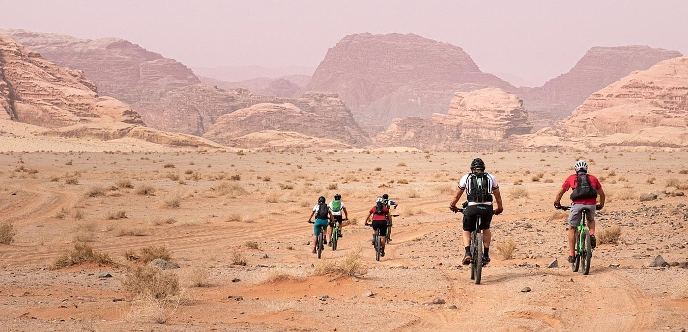 Biking tours Riding through other planetary Wadi Rum