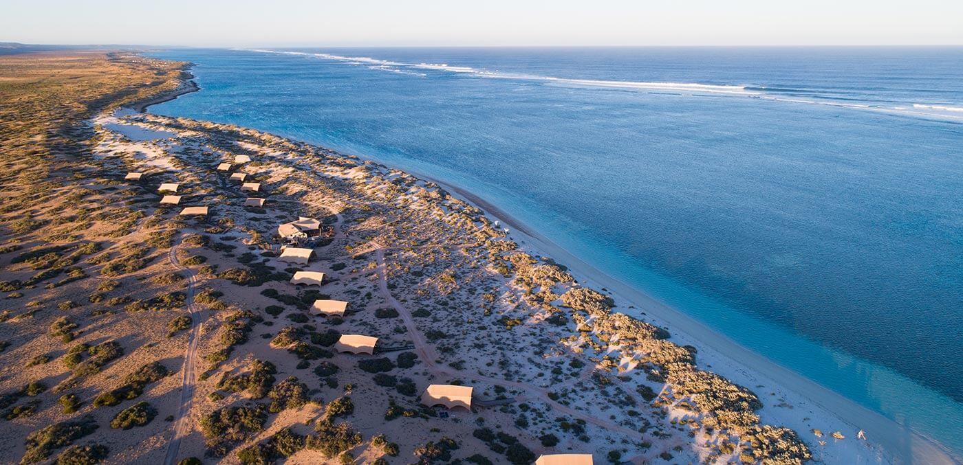 Aerial view of the campsites at Sal Salis Ningaloo Reef