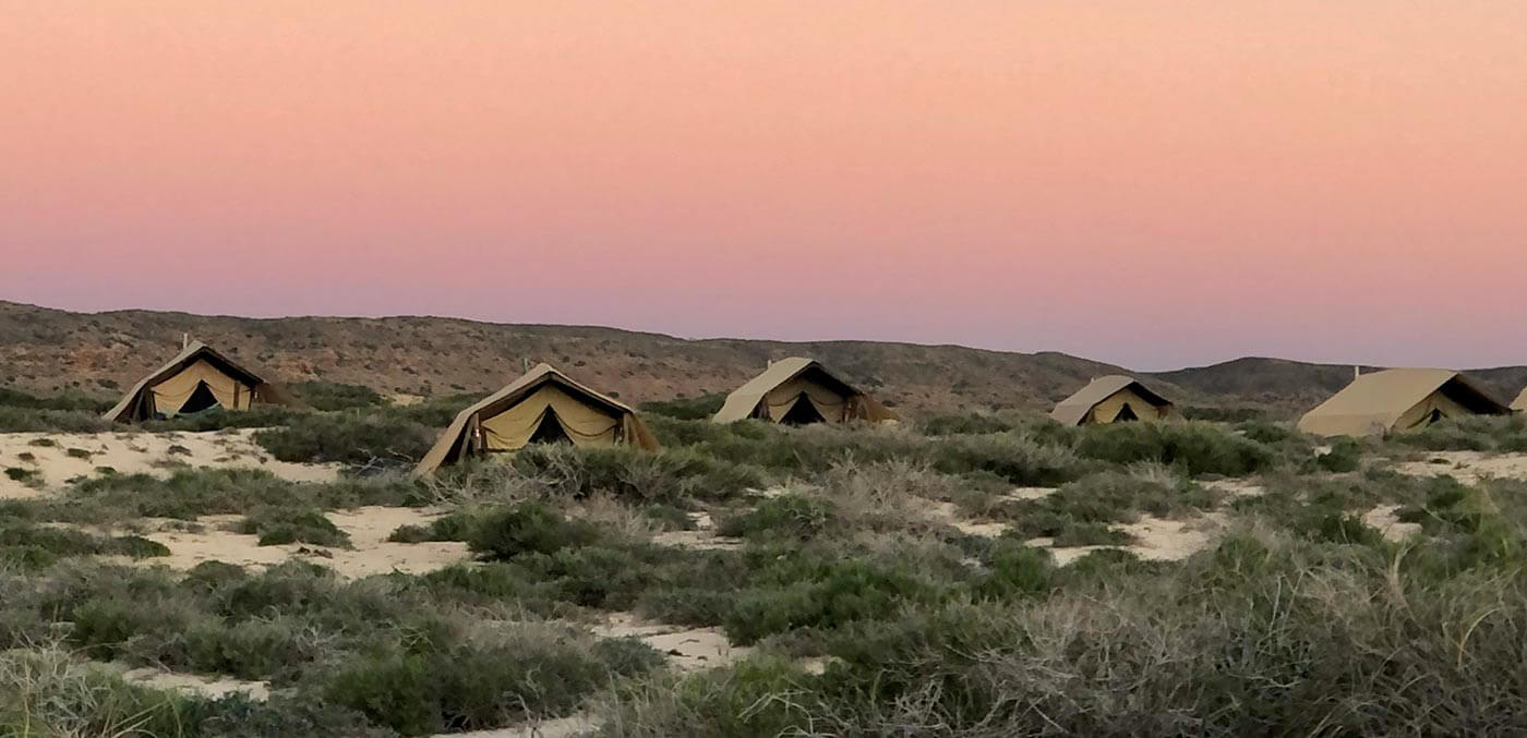 Campsites at sunset