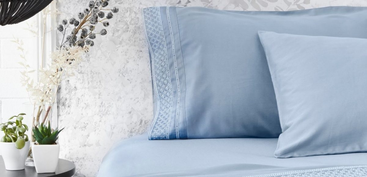 Luxotic Lace Trime Sheet Set in blue