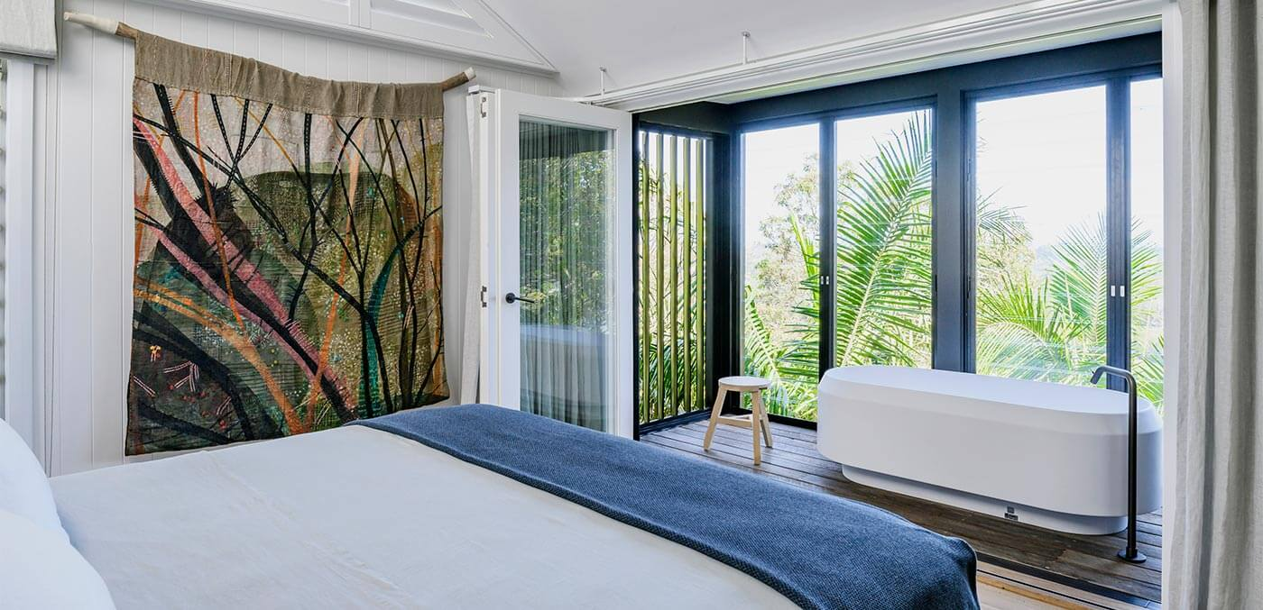 Bedroom with a view at Crane Lodge